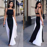 apparel plus - Plus Size dress sexy dresses fashion apparel Chiffon Panelled White Black Hollow Out Slim Pleated Slip Dress Sleeveless Sexy Long Dress