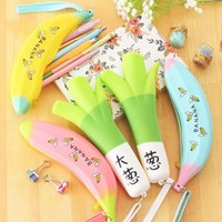Wholesale Novelty Banana Green Onion Silicone Waterproof Fruit Pencil Case Stationery Storage Organizer Bag School Office Supply Escolar