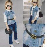Wholesale Children s clothing spring new girl wash cowboy vest children s vest with belt vest coat