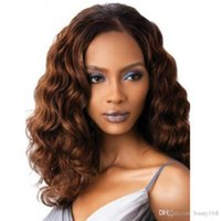 Wholesale Fashion Centre parted Long Curly Hairpiece Coffee Color Convertional Hair Extension inch Realistic Hair Verisimilar Human Hair