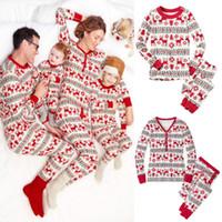 Wholesale 2016 Xmas Hot Selling Kids Adult Family Christmas Deer Flower Print Pajamas Sleepwear Nightwear Kids Clothing Two Piece Set CK1068