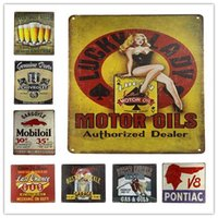 Wholesale Tin Signs Metal Poster Beer Garage Gas Oil Weathered Service Retro decoration Home Decor Pub Bar Man Cave CM