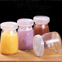 Wholesale 100ML Yogurt Milk Glass Bottle Pudding Cup Dessert Baking Mould Kitchen Dinnerware High Temperature Resistant Via
