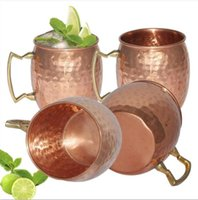 Wholesale Hammered Moscow Mule Cups Copper Plateing Stainless Steel Mug Brass Handle Hammered Moscow Mule Mug with Solid Brass Handle OOA1071