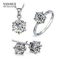 95% OFF! 100% réel 925 Sterling Silver Jewelry Set pour les femmes de luxe 6mm CZ diamant mariage nuptiale Bijoux Set JZR009