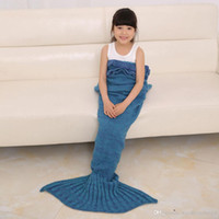 Wholesale 140x70cm Children Kids Winter Knitted Mermaid Tail Blanket Soft Warmer Blanket Bed Sleeping Baby Bags Christmas Air condition Knit Blankets
