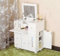 Wholesale Wooden cosmetic vanity dressing table foldable dressing table Mirror furniture wooden dressing table designs for bedroom Solid wood bedside