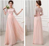 achat en gros de hauts à la mode xxl en mousseline de soie-Top Fashion vestidos de fête élégante élégante rose blanche dentelle en mousseline de soie longue robe de soirée robe de soirée robe de soirée robe 2 couleurs plus récentes!