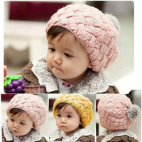 Beanie/Skull Cap Yarn Dyed Casual Baby hats Pom poms pink knit hat girls boys beanie winter toddler kids boy girl faux warm crochet cap 1-7years children's JF-005