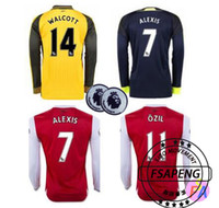 arsenal long sleeve - 2016 Long Sleeve Arsenals Jerseys Gunners Jerseys Away Yellow OZIL WILSHERE RAMSEY ALEXIS GIROUD Welbeck Full Shirts