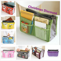 Wholesale Christmas Discount Color Bag in Bag Dual Insert Multi function Handbag Makeup Bag Pocket Bag Organizer Washing Bag Cosmetic Handbag
