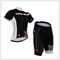 Wholesale Castelli Cycling Jerseys Short Sleeve With Cool Max Padded Bib None Bib Trousers Top Class Lycra Cycling Kits For Men XS XL