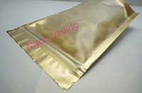 aluminum foil backing material - 100pcs cm Stand up front matte clear inner golden aluminium foil ziplock bag back silver pack dyestuff raw material plastic pouch