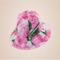 baby sun rose - Children Summer Hat Brand Girls Sun Caps Rose Flower Bucket Hat Designer Kids Beach Hat Baby Girls Cap cm