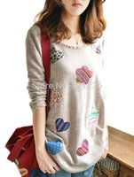 bell patch - Spring and Autumn Floral patch long sleeve t shirt Women casua top