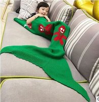 authentic wholesale clothing - Children snowman authentic mermaid blankets blankets Wool knitting blanket fish tail Christmas gift A birthday present