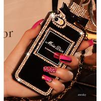 achat en gros de metal phone case-Pour iPhone 7 / 6s plus 7 / 6s Mobile Phone Case Rhinestone bouteille de parfum TPU cas de protection avec l'emballage opp