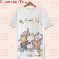 Wholesale Summer Harajuku Shirt Neko Atsume Anime Cartoon Japanese Kawaii Clothes Casual Female T shirt Cat Tops Tee Lolita Vestidos