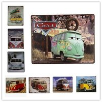 Wholesale Metal Sign Plaque VW Bus Retro Metal Tin Sign Club Pub Home Coffee Bar Wall Decor iron Paintings inch