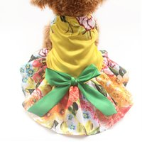 Dresses Spring/Summer Thanksgiving Armi store Large Yellow Flower Pattern Dog Dresses Dogs Princess Dress 6071061 Pet Puppy Clothes Supplies
