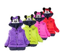 Wholesale 2015 Winter Hot Sale Fashion Kids Jackets Minnie pattern Children Hooded Coats Long Sleeve Thickened Girls Clothing