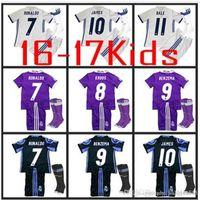 Wholesale 24 kids sock Real Madrid Kids home Away jerseys Real Madrid RONALDO BENZEMA JAMES BALE shirt