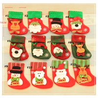Wholesale 12 styles Christmas Stockings Tree Party Decorations Cartoon War Xmas Socks Children Kids Candy Pockets Gift Bags