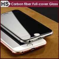 """Wholesale Soft Glass Wholesale - 3D Curved Glossy Front Tempered Glass For iPhone 6 6S 7 Plus 360"""" Full Covered 9H Soft Carbon Fiber Edge Screen Protector DHL"""