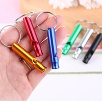 Wholesale 10pcs Mixed colors Aluminum Pet dog training whistles ultrasonic first aid outdoor whistle small presents keychains