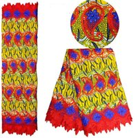 Wholesale African super WAX with Lace Fabric Embroidered Holland Wax With beads High Quality super wax Fabric For Women