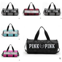 Wholesale Love VS Women Handbags Pink Large Capacity Travel Duffle Striped Waterproof Beach Bag Shoulder Bag