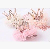 Wholesale 2016 new children Korean Girls Princess headdress hairpin net yarn flower crown card girl stereo head ornaments