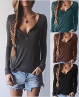 bead embroidery stitches - Long Sleeved Sweater T shirt Autumn and Winter Grey Black Thread V collar Women Casual V Neck Knit Pullover Sweater Tops ouc033