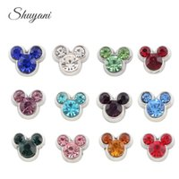 Wholesale Mix Colors Birthstone Mickey Mouse Head Floating Locket Bulk Charm for Living Memory Locket DIY Charm Bracelet