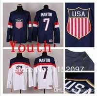 Cheap 2016 Youth USA Jersey Olympic Team Sochi 2014 Paul Martin Jerseys #7 Blue White American Ice Hockey Uniform Children Kid's Embroider