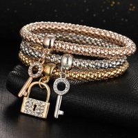 amazon charm bracelet - New amazon hot style in Europe and the alloy crystal diamond key lock elastic bracelet fashion creative female money bracelet