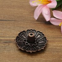 Wholesale Modern Lotus Shape Metal Incense Plate Burner Holder Holes for Stick Cone Incense Aromatherapy Buddhist Craft Gift Home Decor