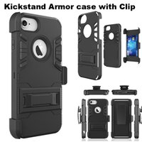 bag clips plastic - Kickstand Armor Case with Clip Shockproof Plastic Rugged Belt Clip Holster Cover for iphone s plus Galaxy S7 edge OPP BAG