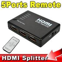achat en gros de xbox dvd télécommande-5 Port HDMI Splitter Switch Switcher Box Sélecteur 1080P pour Xbox 360 HD DVD TV avec télécommande IR + câble récepteur IR