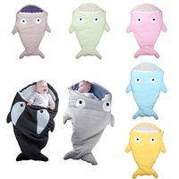 Wholesale Kids Baby Shark Sleeping Bag Mermaid Tail Shark Sleep Sacks Fleece Blankets Wrap Costumes Bed Fish Snuggle in Shark Baby Blankets