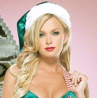al por mayor tubos uniformes-Trajes de Halloween Uniformes Tentación Tubo Verde Top Navidad Princesa Vestido Rayas Bowknot Ropa de Navidad Adulto Guantes