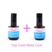 Wholesale Base Coat Top Coat HIGH QUALITY UV NAIL POLISH GEL LACQUER NAIL GEL POLISH GLUE SET SOAK OFF UV NAIL GEL ML BOTTLE