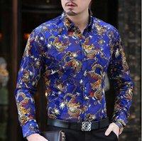 Wholesale Big flower velvet Mens Long Sleeve Shirt and leisure fashion in elderly men s shirt male hollow thin