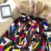 Fourrure de vison colorée Doublure amovible MRMRS FURS Doudoune mini parkas avec col de fourrure de raton laveur