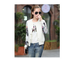 Wholesale 2016 Flower Print Girl Plus Size Casual baseball Jacket Women Sweatshirts Button Thin Bomber Jacket Long Sleeves Coat