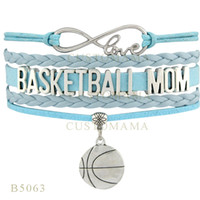 basketball mom - Custom Infinity Love Christmas Gifts Bracelet Light Blue Leather Custom Team Bracelet Sport Basketball Mom Basketball Charm Bracelets