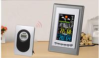 Wholesale 10PCS Indoor Outdoor Wireless weather station temperature sensor Measurement Meter Thermometer alarm clock Snooze stazione meteo