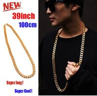 Wholesale 2017 tide Cuban Link Chain K Gold Plated Necklace MM Gold Chain For Men High Quality Trendy Hip Hop Bling Jewelry