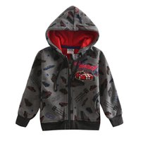 Wholesale full and winter The boy s fashion leisure coat Hooded zipper Printed cool car cotton polyester handsom keep warm