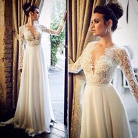 Wholesale Deep V Neck Beach Wedding Dresses With Long Sleeves Sexy Lace Bodies Chiffon Wedding Gowns Bridal Growns
